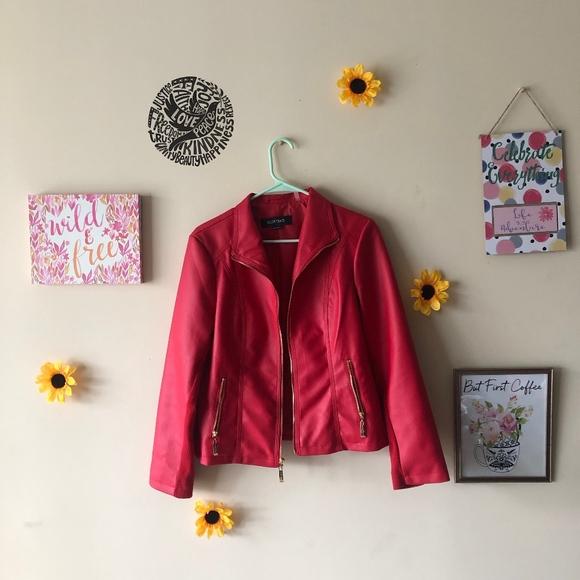 Ellen Tracy Jackets & Blazers - Ellen Tracy Red Leather Jacket
